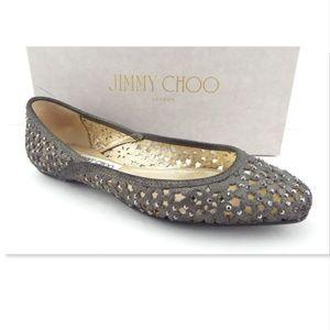 JIMMY CHOO Crystal Metallic Leather Ballet Flat 39
